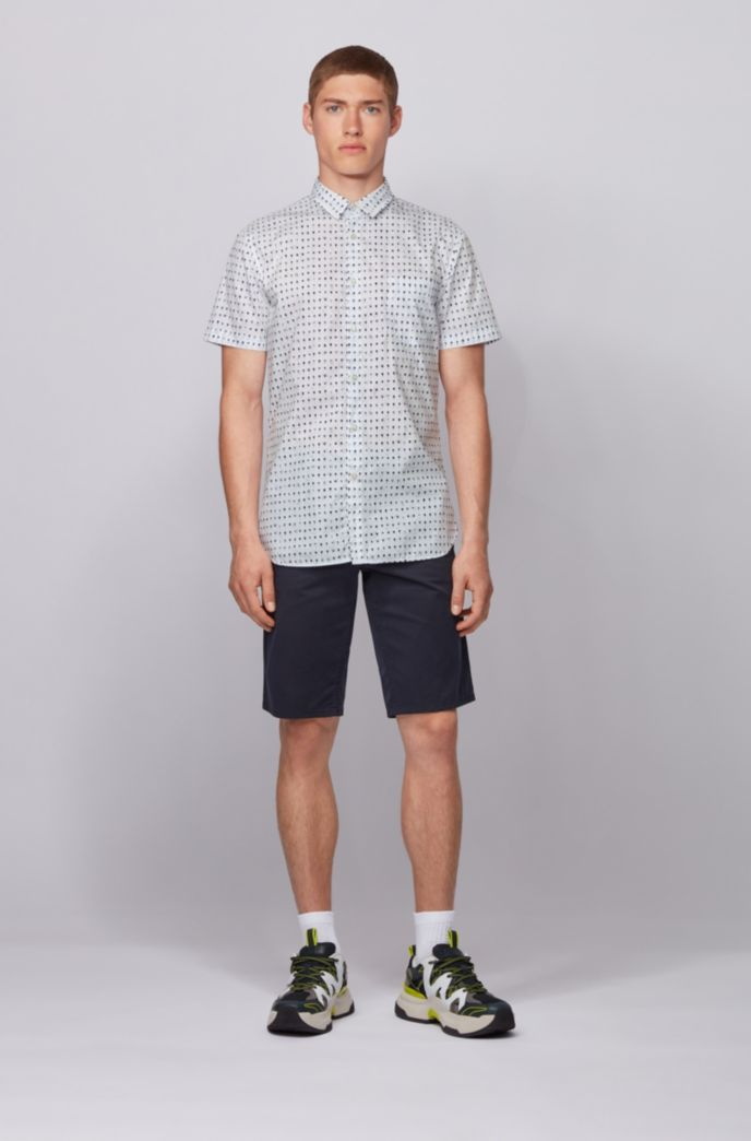 Photo-print slim-fit shirt in cotton-blend poplin