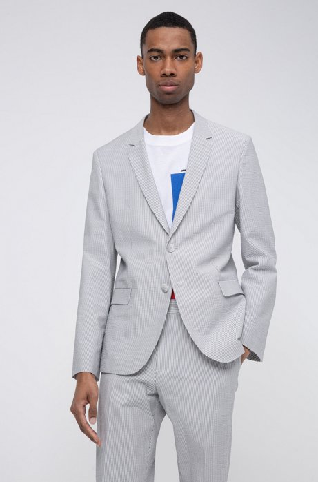 Extra-slim-fit jacket in striped cotton-blend seersucker, Light Grey