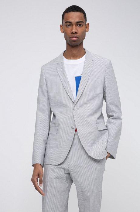 Extra-slim-fit jacket in striped cotton-blend seersucker, Open Grey