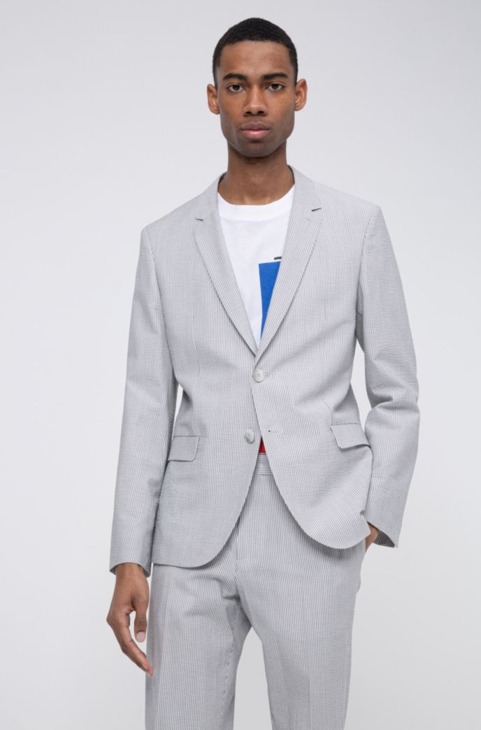 Extra-slim-fit jacket in striped cotton-blend seersucker