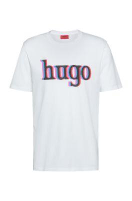 Logo-print T-shirt in organic-cotton jersey, White
