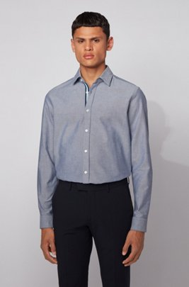 Regular-fit shirt in Oxford cotton with contrast tape, Dark Blue