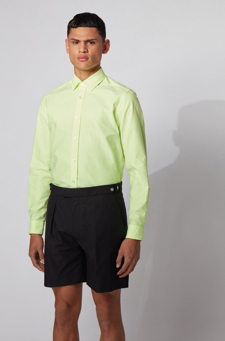 Regular-fit shirt in Oxford cotton with contrast tape, Yellow
