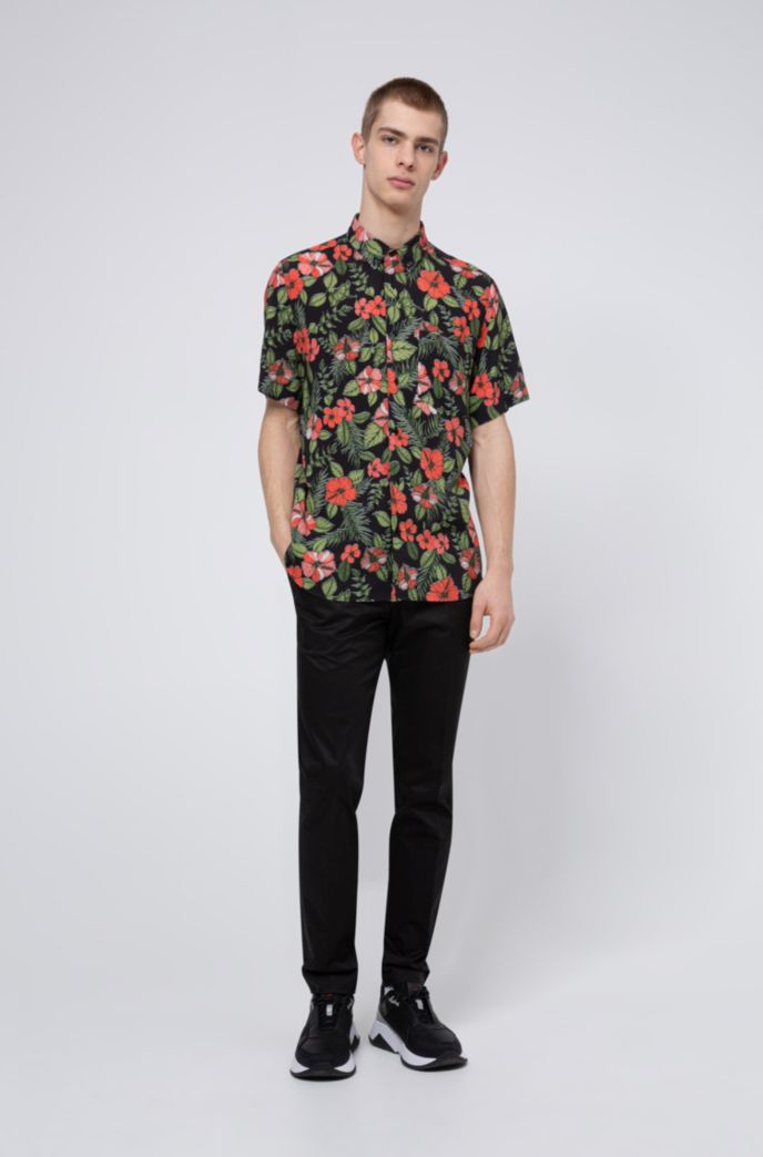 Floral-print relaxed-fit shirt with button-down collar