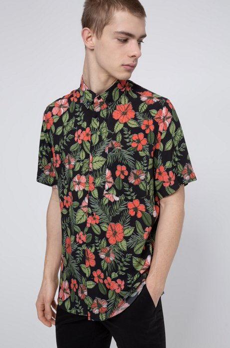 Floral-print relaxed-fit shirt with button-down collar, Black