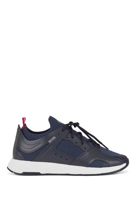 Hiking-inspired sneakers with leather facings, Dark Blue