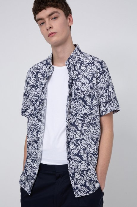 Relaxed-fit button-down shirt with graphic floral print, Dark Blue