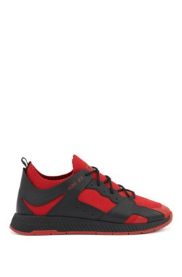 Leather-trimmed sock trainers with Tokyo artwork, Light Red