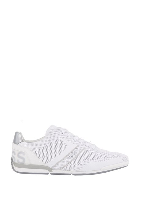 Low-top trainers with knitted uppers, White