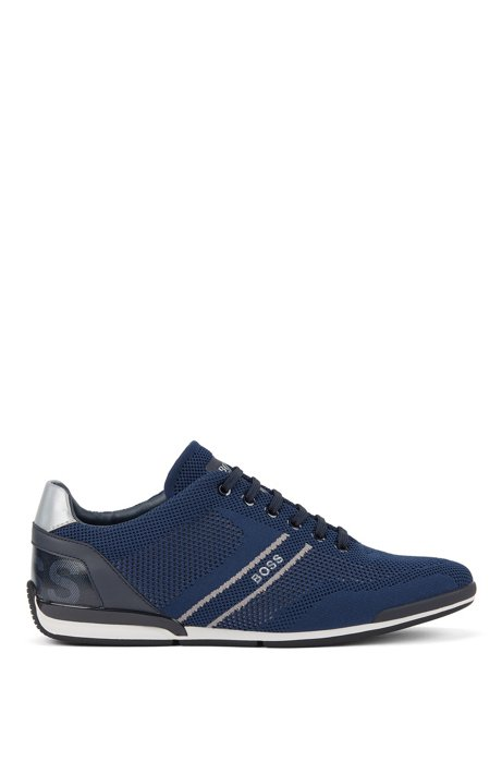 Low-top trainers with knitted uppers, Dark Blue
