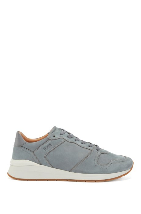 Suede trainers with embossed-leather trims, Grey