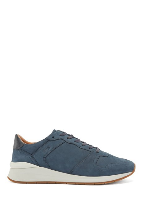 Suede trainers with embossed-leather trims, Dark Blue