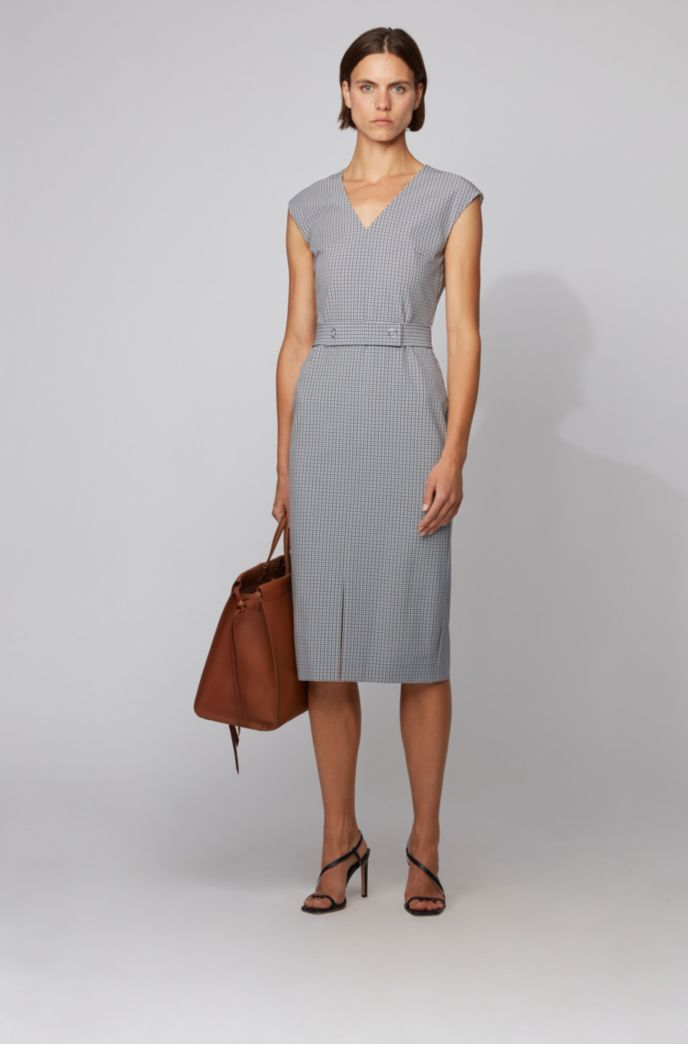 V-neck shift dress in pepita-check with belt detail