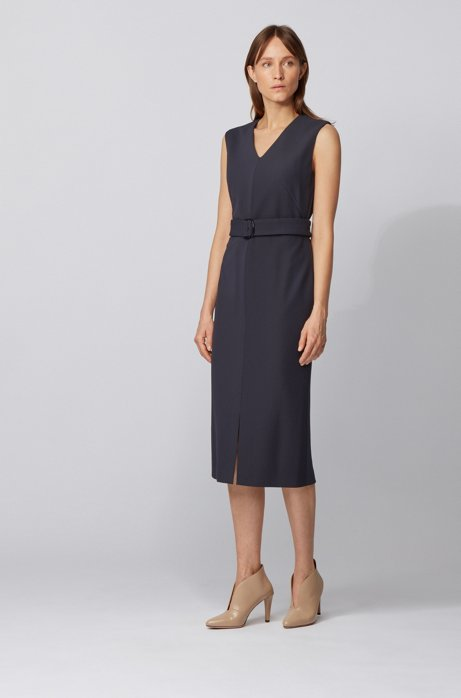 Sleeveless shift dress in stretch twill with belted waist, Light Blue