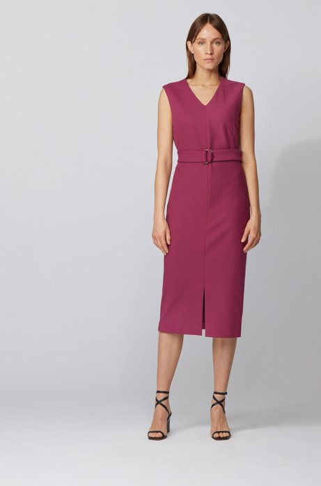 Sleeveless shift dress in stretch twill with belted waist, Purple
