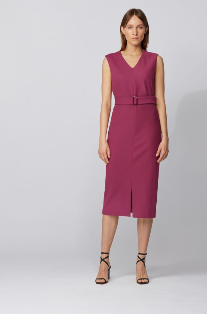 Sleeveless shift dress in stretch twill with belted waist