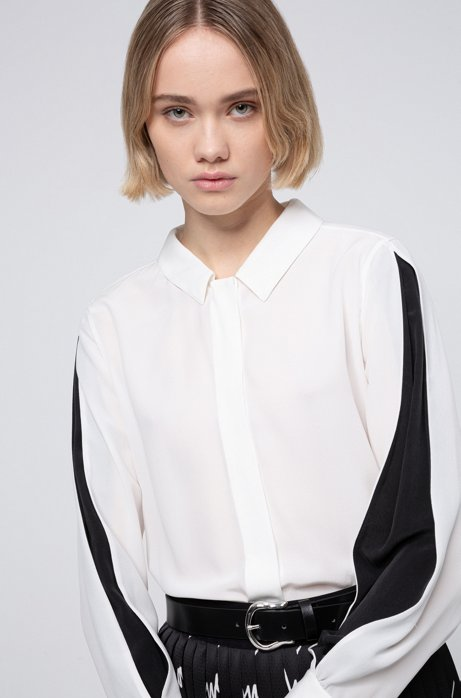 Relaxed-fit blouse in sand-washed silk chiffon, White