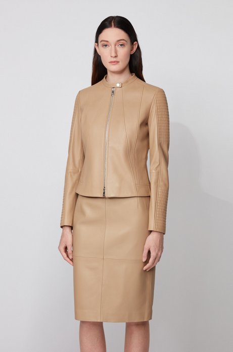Regular-fit nappa-leather jacket with stand collar, Beige