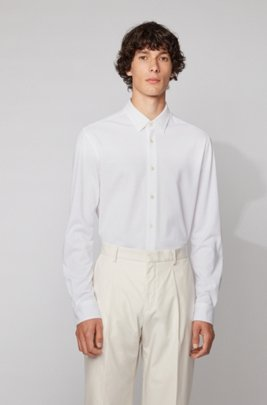 Slim-fit shirt in washed cotton piqué, White