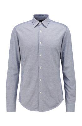 Slim-fit shirt in washed cotton piqué, Dark Blue