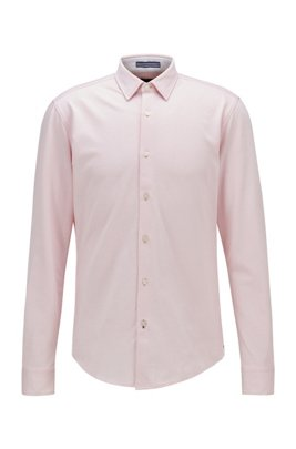 Slim-fit shirt in washed cotton piqué, light pink