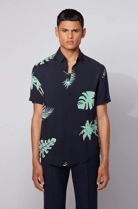 Short-sleeved slim-fit shirt with palm-leaf print, Dark Blue