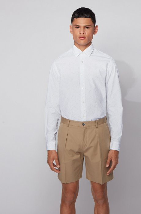 Regular-fit shirt in multi-colored dobby cotton, Light Beige
