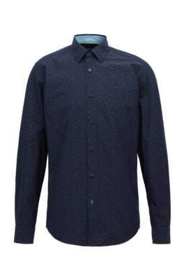 Regular-fit shirt in multi-colored dobby cotton, Dark Blue