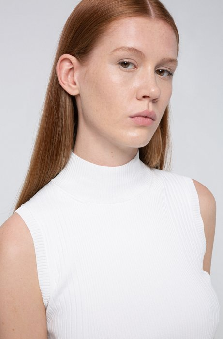 Sleeveless mock-neck top with ribbed structures, Natural