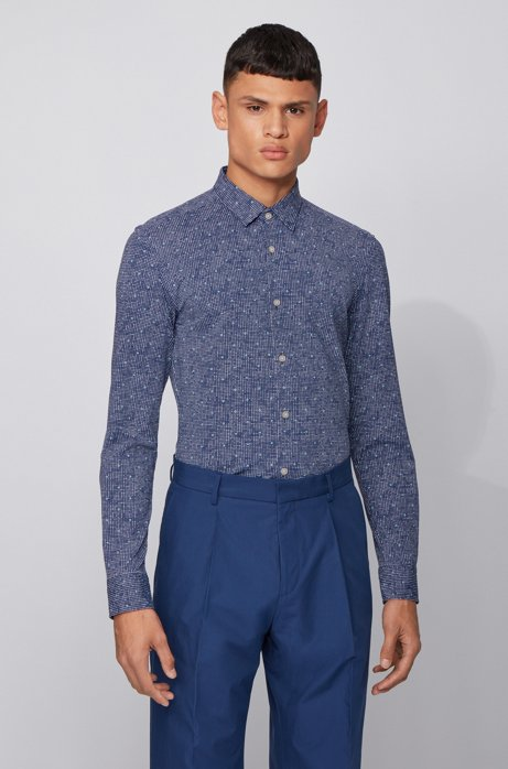 Printed slim-fit shirt in performance-stretch fabric, Dark Blue
