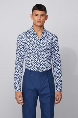 Printed slim-fit shirt in performance-stretch fabric, Dark Blue