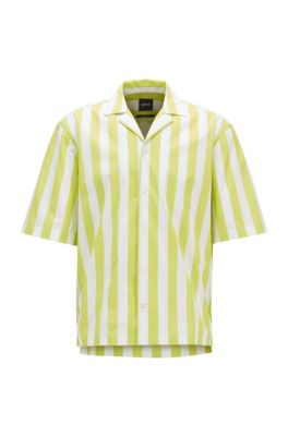 Regular-fit shirt in stretch fabric with block stripes, Yellow