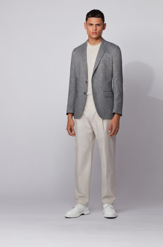 Slim-fit jacket in patterned fabric with linen