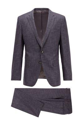 Slim-fit suit in patterned virgin wool and silk, Light Grey