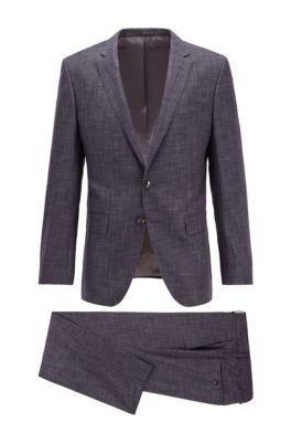 Slim-fit suit in patterned virgin wool and silk, Light Grey