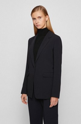 Relaxed-fit jacket in crease-resistant crepe with stretch, Black