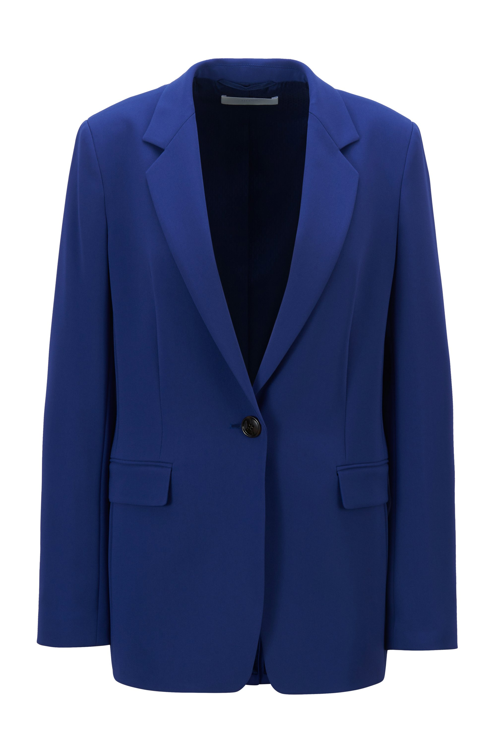 Relaxed-fit jacket in crease-resistant crepe with stretch, Dark Purple