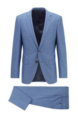 Slim-fit suit in micro-patterned virgin wool, Turquoise
