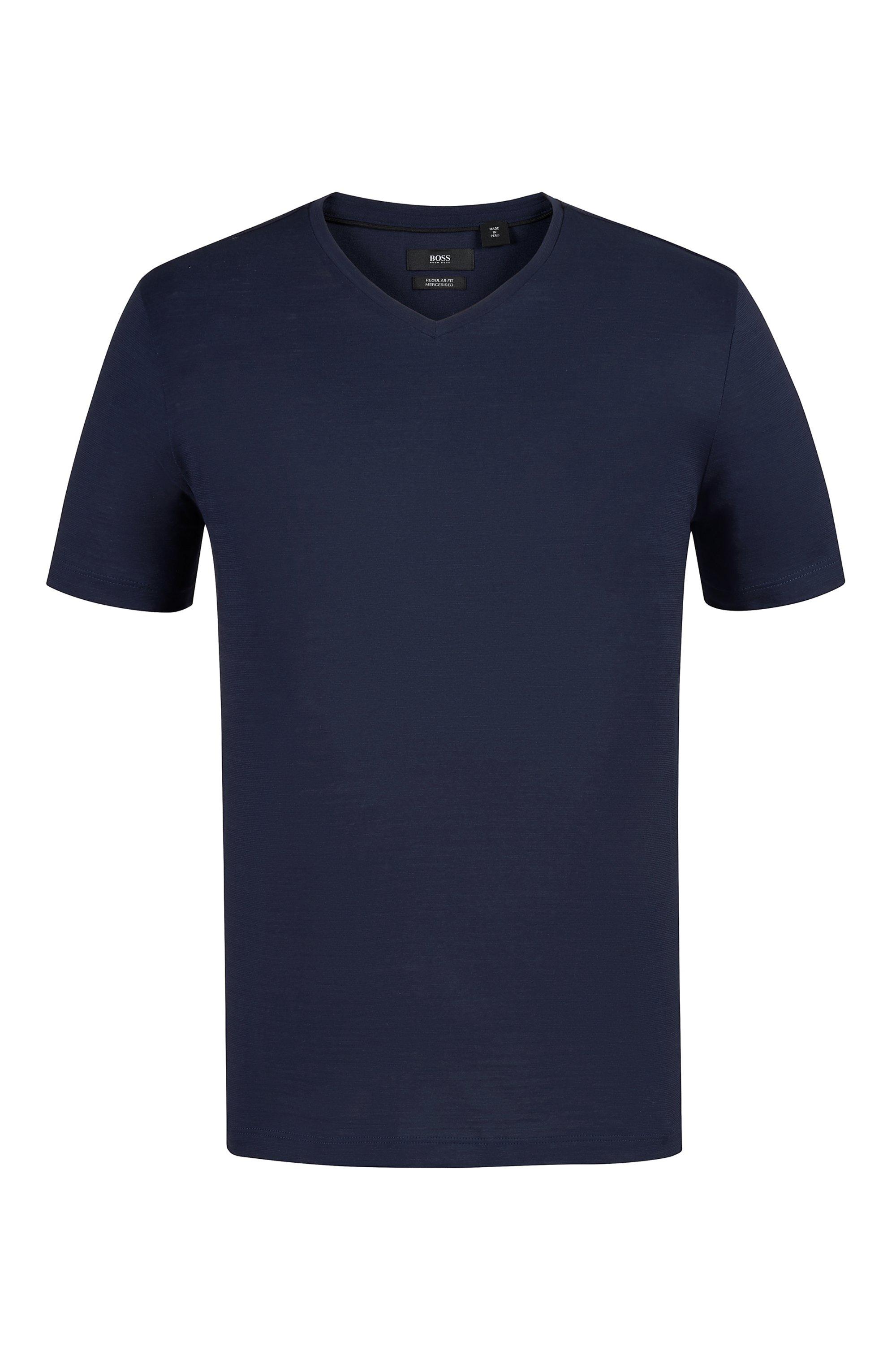 Regular-fit T-shirt in mercerized cotton, Dark Blue