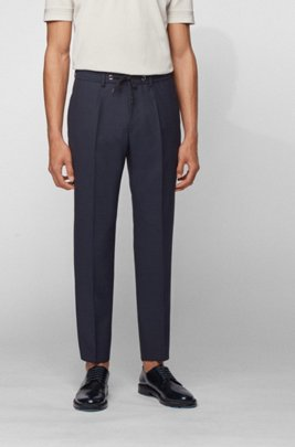 Slim-fit pants in virgin wool with drawstring waist, Dark Blue