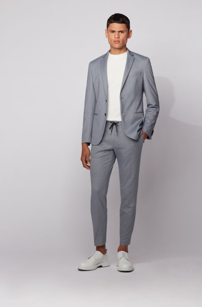 Slim-fit jacket in micro-patterned stretch jersey