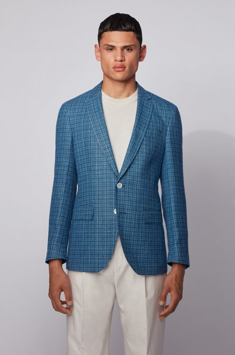 Slim-fit suit in a hemp-wool blend, Turquoise