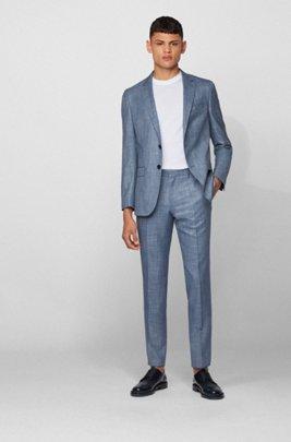 Slim-fit suit in a patterned virgin-wool blend, Light Blue