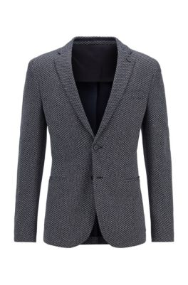 Slim-fit jacket in patterned jersey, Dark Blue