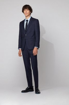 Slim-fit suit in checked virgin-wool serge, Dark Blue