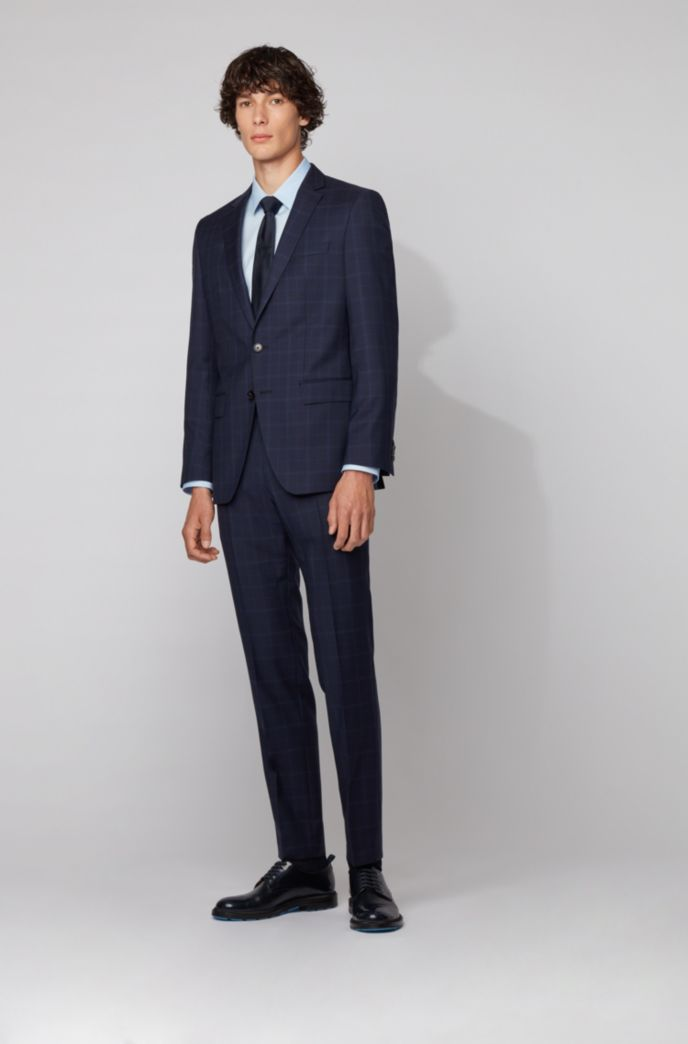 Slim-fit suit in checked virgin-wool serge