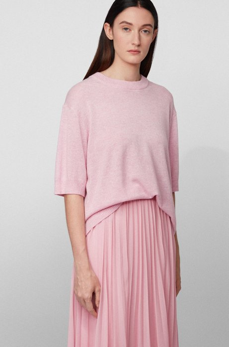 Relaxed-fit sweater in pure cashmere with cropped sleeves, Light Purple