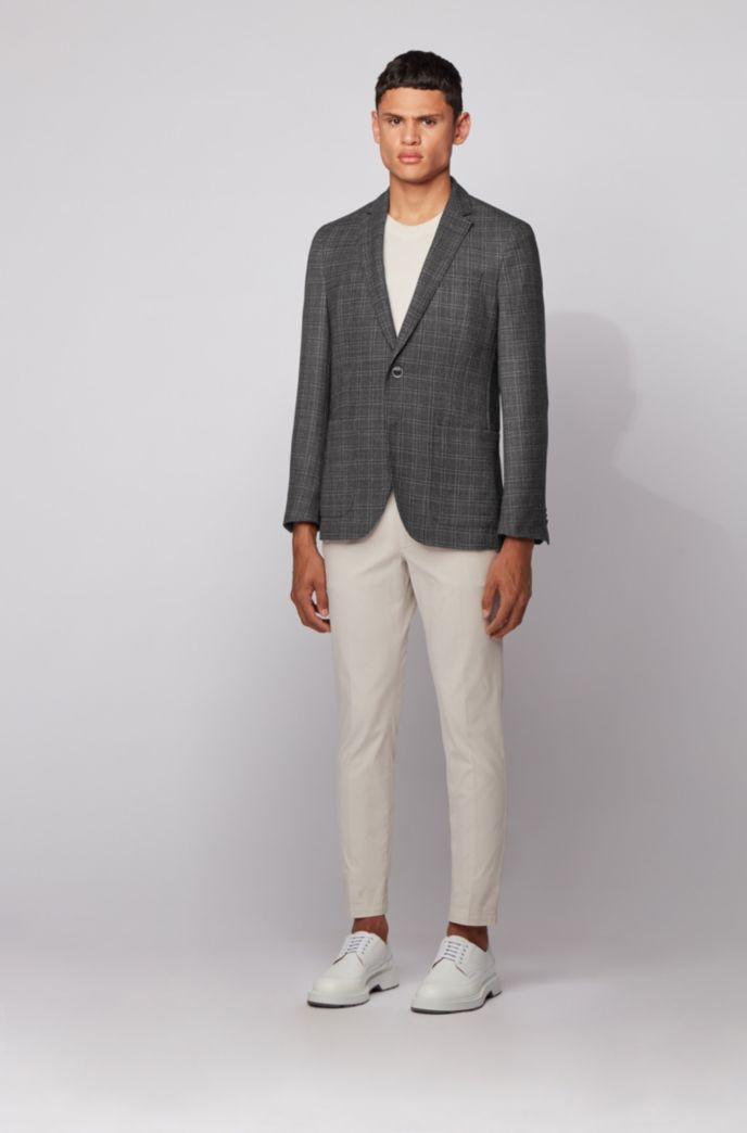 Slim-fit jacket in a checkered virgin-wool blend