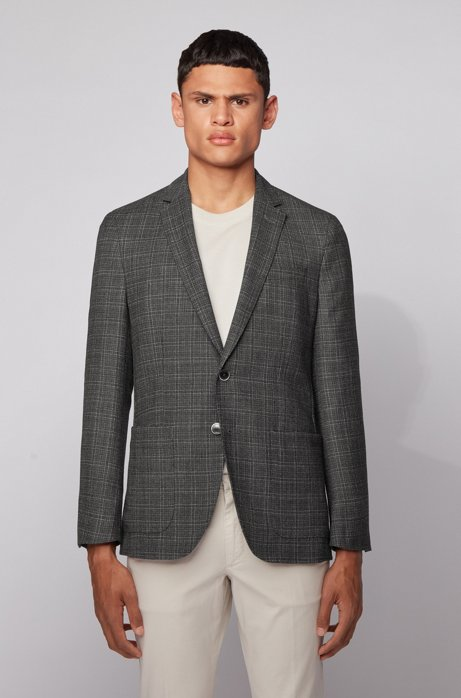 Slim-fit jacket in a checkered virgin-wool blend, Light Grey