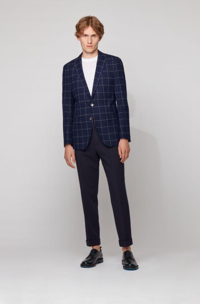 Slim-fit jacket in a checkered virgin-wool blend